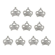 10x Silver Rhinestone Crown Flat Back Embellishments Scrapbook Wedding Decor