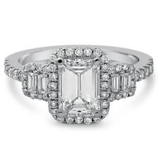 Ring With Halo & Baguettes E25 Emerald Cut Antique Style Diamond Engagement