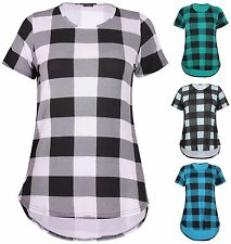 Scoop Neck Checked Short Sleeve Tops & Shirts for Women