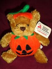 "Halloween Pumpkin Teddy Plushland 2000 Bean bag Plush 6"" Diabetes Bear NEW"
