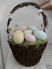 """Lg EASTER Basket Pastel Speckled Eggs Decoration Brown Twig Round Shaped 18""""Tall"""