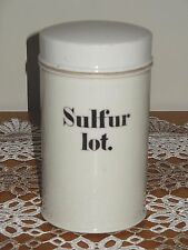 ANTIQUE FRENCH APOTHECARY PHARMACEUTICAL STORAGE JAR : Sulfur lot.