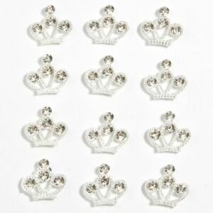 "50Pcs 1.5cm 0.59"" Silver Flower Rhinestone Buttons For Wedding Decoration Craft"