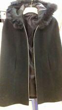 Vintage black fur hooded Cape size 10 -12 1970's