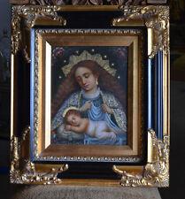 Virgin Madonna andChild oil painting spanish colonial art cuzco school