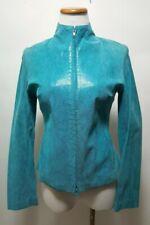 Express World Brand Turquoise Snake Texture Leather Jacket Size 3/4