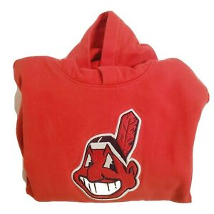 Cleveland Indians Chief Wahoo Pullover Hooded Sweatshirt Youth Size 10/12 CLEAN