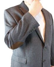 Elbow Patch Blazer 48R Chaps Blue Gray Houndstooth Plaid Professor Jacket Coat