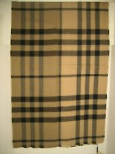 "NEW BURBERRY Men Unisex Camel Check Large Wool Fray Neck Wrap Scarf  71"" x 20"""