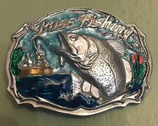 BASS FISHING BELT BUCKLE FISH APPROXIMATELY 3 X 2 1/8""