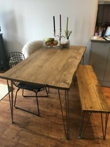 Rustic Dining Table Hand Made Reclaimed Industrial Scaffold Board Hairpin Table
