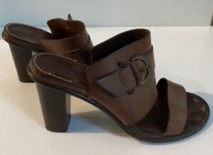 Robert Clergerie Brown Open Toe Sandal Heels, Sz 38