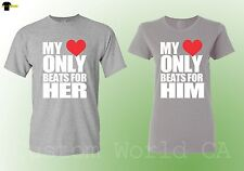 Love Couple Matching Shirts His Hers My Heart Beats For Her Him Shirts - Grey