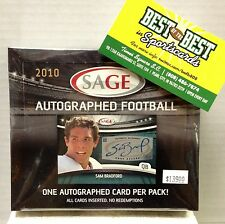 Factory Sealed 2010 Sage FOOTBALL One Auto Per Pack HOBBY BOX Rookie GRONKOWSKI