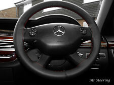 FOR MERCEDES-BENZ VITO 2 W639 BLACK LEATHER STEERING WHEEL COVER DARK RED STITCH