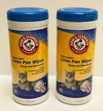 2 Arm & Hammer Heavy Duty Litter Pan Wipes Cleans Deodorizes 30 Count