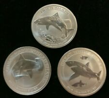 2014 2015 2016 Perth Mint  Shark Series Silver Coin Set of THREE 1/2 oz rounds