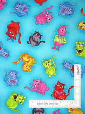 """Cat Cool Cats Kitty Toss Loralie Cotton Fabric Turquoise 14"""" 21"""" & 5"""" Pieces"""