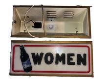 Rolling Rock Women's Vintage Bathroom Sign and Empty Sign Holder