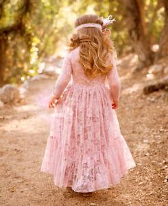 Gianna Flower Girl Dress Baby Lace Gown Wedding Birthday Party & FREE Headband