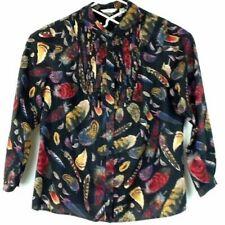 5151fc74df Liz Claiborne Womens 16W Blouse Top Feathers Button Front Long Sleeve Cotton