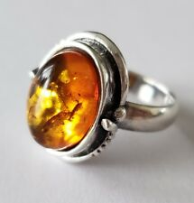 Gorgeous Natural Amber Sterling Silver 925 Ladies Ring Sz 6.5