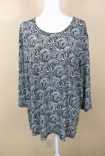 Maggie Barnes Top Sz 3X Colorful Print 3/4 Sleeves Stretch Plus Size Shiny