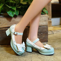 Women Lolita Round Toe Bowknot Ankle Stap Mid Heel Mary Janes Pumps Shoes SZ 2-9