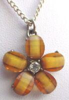 pendentif chaîne fleur couleur argent cabochon marron beige cristal diamant 2008