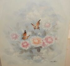 ANN SHAW BUTTERFLY AND FLORAL OIL ON CANVAS PAINTING WITH COA