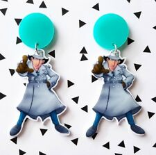 Inspector Gadget 80s cartoon print shrink plastic dangle stud earrings