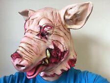 Máscara de Cabeza de Cerdo cortadas SANGRIENTOS HORROR Animal Vestido Elaborado Disfraz De Halloween