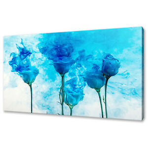 BEAUTIFUL BLUE ROSES FLOWERS SMOKE INK MODERN CANVAS PRINT WALL ART PICTURE