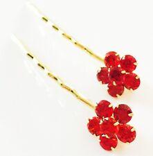 USA Bobby Pin using Swarovski Crystal Hair Clip Bridal Wedding Red Flower