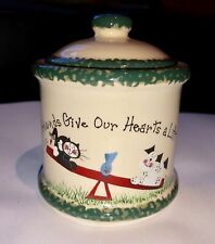 """Crazy Mountain Jar Candle Holder W/ Lid """"Friends Give Our Hearts A Lift"""" Cat Dog"""