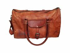 Men's genuine Leather large Triangle duffle travel weekend overnight bag