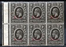 TANGANYIKA KG V 1922 G.E.A. Overprinted East Africa 1c. Block of Six SG 72 MNH