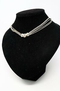 Quality Vintage 925 Sterling Silver 925 & 18ct Yellow Gold 750 CZ Necklace #190