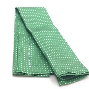 $125 Tommy Hilfiger Men White Green Polka Dot Handkerchief Classic Pocket Square