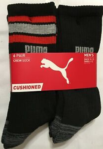 Puma  Cushioned 6-Pair Black Crew Socks with Gray/Red  -   (9547)