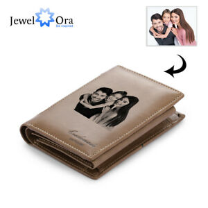 Personalized Photo Mens Leather Wallets Long Bifold Enrgaved Texts Card Bag Clip