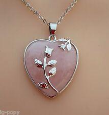 NECKLACE ROSE QUARTZ HEART CRYSTAL PENDANT REIKI HEALING LOVE HEART CHAKRA NEW
