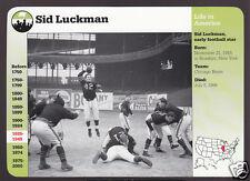 SID LUCKMAN Chicago Bears Football 1999 GROLIER STORY OF AMERICA CARD