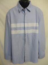 Five Four 100% Cotton 2XL Slim  36/37 Slve Blue w/Stripes Point Shirt SR$68 NEW