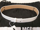 Alexander Mc Queen white leather belt with metal plate
