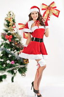 8 pc. Sexy Christmas Dress Set! Red Velvet Mrs Claus Costume Santa Hat 7152