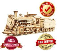 3d Assembly Model Puzzle Toy Wooden Locomotive Train Gift Robotime Rokr Diy Kits