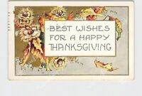 PPC POSTCARD HAPPY THANKSGIVING WHITNEY HAZELNUTS LEAVES GOLD EMBOSSED