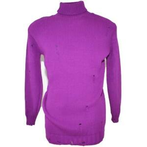 Maglione dolcevita uomo lungo viola slim fit ad intessitura larga linea vintage