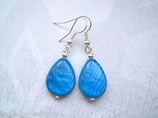 VIVID TURQUOISE BLUE TEARDROP Mother of Pearl SHELL SP Drop Earrings Tear Drop
